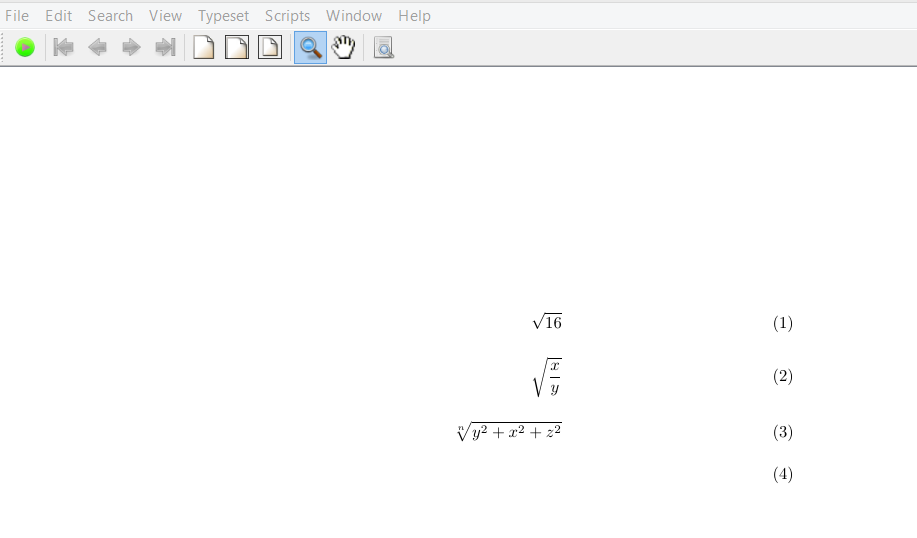 beginning latex : square roots
